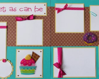 Premade 12x12 Scrapbook Pages - girl layout -- SWEET as CAN BE -- ice cream, donut, cupcake, baby girl, sisters, cousins, family time