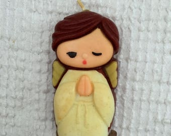 Vintage Small Angel Candle From the 1970's - For Christmas or Year Round Decor - A Retro Cutie