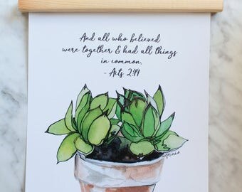 HENS and CHICKS Inspirational Scripture Print in Magnetic Wooden Frame, succulents print, Bible Verse Painting, Wall Hanging, Watercolor