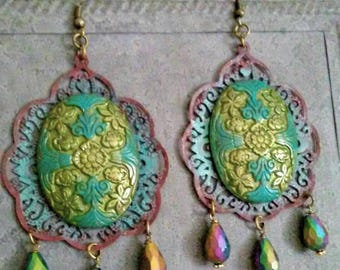 Limited ~ MADE TO ORDER ~ Bohemian Peacock Earrings Flamenco Handpainted Jewelry Vintage Crystals Belly Dance  Gypsy Boho  by Red Gypsy
