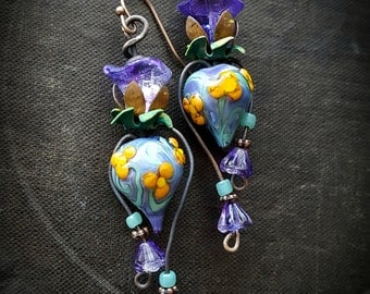 Lampwork Headpins, Lampwork Glass, Czech Glass, Vintage Jewlery, Flowers, Earthy, Organic, Rustic, Beaded Earring