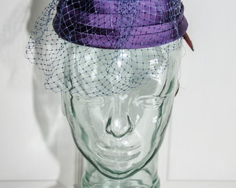 Vintage 1960's Purple Satin Pill Box Hat with Netting