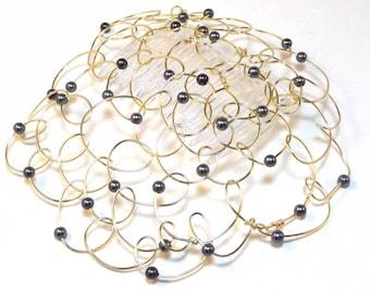 "Womans Kippah Kippot Yarmulke Women Chapel Cap Bat Mitzvah  Kippah Kippot - Gold Wire Black Pearl 4.5"""