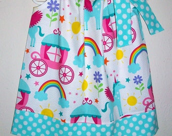 Pillowcase Dress Rainbows & Unicorns Michael Miller Spring Dress with Carriages Flowers Birthday Dress Unicorn Party Rainbow Party