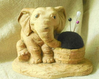 Adorable Vintage Elephant Holder remade into Pin Cushion