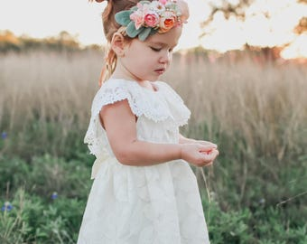 Off-White Ivory Lace Flower Girl Dress, Special Occasion, Toddler and Girl Sizes