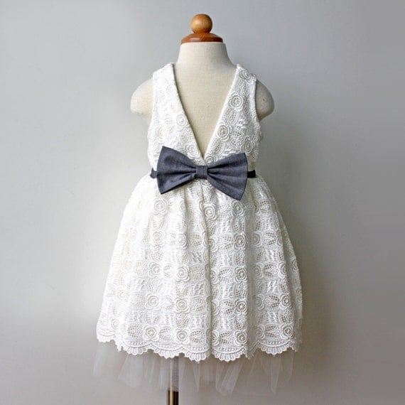 Venise Lace Dress for Toddler and Girl, ivory and charcoal, Flower Girl, 1st Communion, Special Occasion