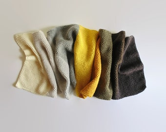 Gray Yellow Color Block Scarf, Hand Knit Statement Scarf, Cute Wrap Wool Long Scarf, One of a Kind, Knit Shawl, Womens Scarves, Mens Scarf