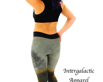 Sacred Geometry Leggings with Hand Dyed Organic Fabric, Yoga Pants, Festival Clothes, Gypsy Clothes