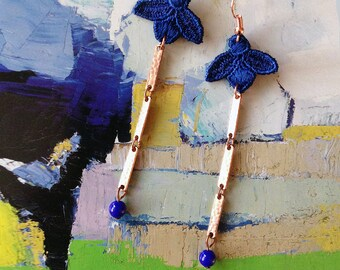 lace earrings // ARDEN // long earrings / dangle / bright cobalt blue / handmade by white owl / bohemian / floral