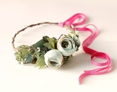 Rose and eucalyptus woodland crown, Floral wreath with greenery, Artificial floral wreath, Bridal hair crown, Mint green gold flower wreath