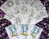 Mini Coloring Pages Trading Card Prints Myka Jelina Fairy Angel Big Eyed Fantasy Art Meditation ATC Set 1