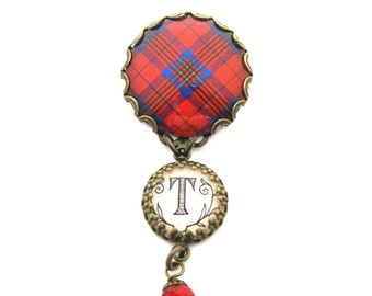 "Scottish Tartan Jewelry - Tartans Special Occasion Collection - Leslie Clan Tartan Brooch w/Initial ""T"" Charm & Scarlet Red Chinese Crystal"