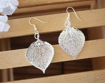 Silver Aspen Leaf Earrings, Real Leaf Earrings, Aspen Leaf, Sterling Silver Earrings, LESM164