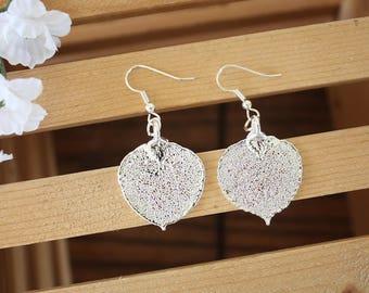 Silver Aspen Leaf Earrings, Real Leaf Earrings, Aspen Leaf, Sterling Silver Earrings, LESM181