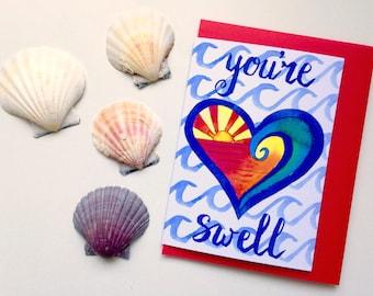 Beach Valentine's Day Love card - Australian retro surfer Card - You're Swell - A6 watercolour heart print