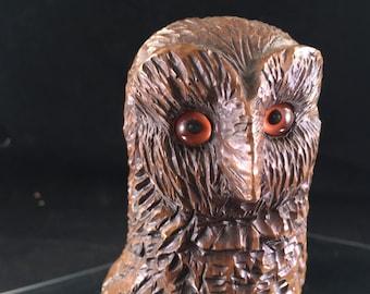 Vintage 1970's Era Gas Carved Wood Owl Figurine Very Detailed