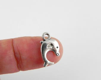 20 Dolphin Charms - Antiqued Silver -15mm x 9mm - double sided