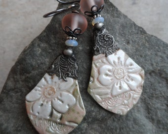 Magnolia Blossom ... Artisan-Made Porcelain Charms with Tinwork, Artisan Lampwork, Australian Opal and Sterling Wire-Wrapped Floral Earrings
