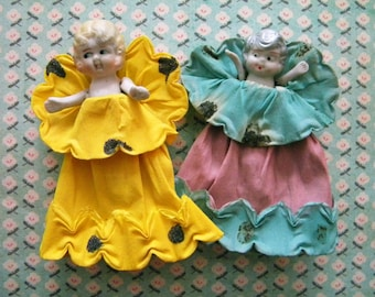 Vintage Pair of Bisque Dolls in Crepe Paper Dresses Flapper Girls with Jointed Arms
