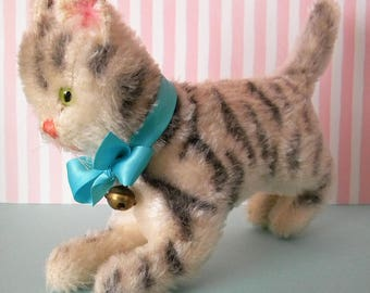 Vintage Mohair Kitty Cat Striped Tabby with Glass Eyes and Bell