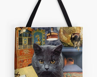 Tote Bag - Scorpio StarCat - zodiac astrological collage art for the cat lover