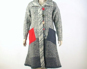 Reconstructed Sweater Coat/ Duster Coat/Upcycled/Large 14/16/ Heather Grey Tweed