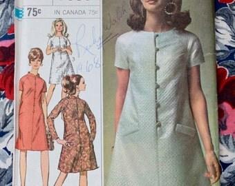 "1960s dress pattern / Simplicity 7336 / 1960s mod dress uncut sewing pattern / bust 34"""