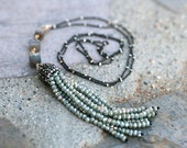 Labradorite Gemstone and Light Sage Green Crystal Tassel Necklace, Oxidized Sterling Silver Necklace, Crystal Tassel Pendant, 24 Inch Length