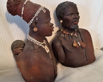 Very Rare Zulu Witch Dr. and Female with Baby from South Africa 1957