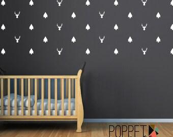Trees and Bucks Wall Decal Sticker - Tree Sticker Decor - Buck Hunting Wall Decor Sticker - Boys Bedroom Nursery - CB163