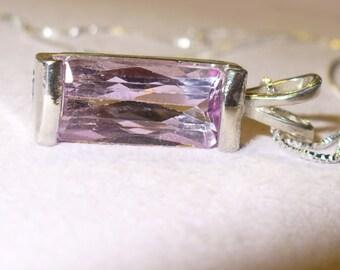 Kunzite Pendant Necklace in Sterling Silver - Large Genuine, Natural Pink Scissor-Cut Gem