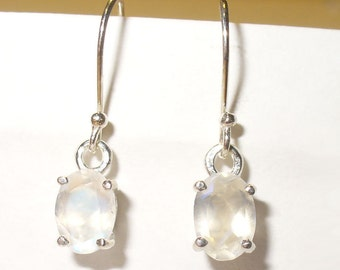 Faceted Moonstone Earrings - Beautiful Genuine Gemstone in Solid Sterling Silver