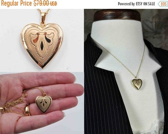 ON SALE Vintage Krementz Gold Heart Locket Necklace, 14K Rolled Gold, 14K Gf, Satin, Shiny, Pendant, Engraved, Chased, So Lovely! #b863