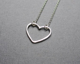 Open Heart Necklace, Sterling Silver, Small Heart Necklace, Hammered Heart, Argentium Silver, Modern Romantic, Valentines Gift Under 40