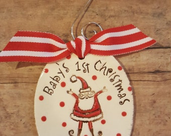 Baby's first Christmas - Santa personalized ornament - new baby - 1st christmas-  christmas tree ornament