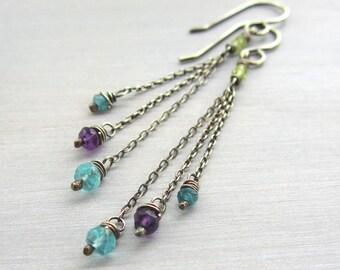 Gemstone Chain Earrings, Sterling Silver Tassel Earrings, Fringe Earrings with Amethyst, Apatite, Peridot, Dainty Boho Jewelry