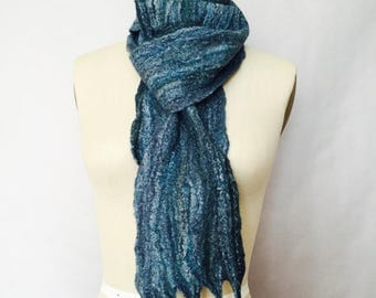 Blue Felted Scarf Turquoise Navy Green Multi Color Unisex Fiber Art OOAK - Made to Order