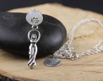 Sterling Silver Moonstone Goddess Necklace with Personalization