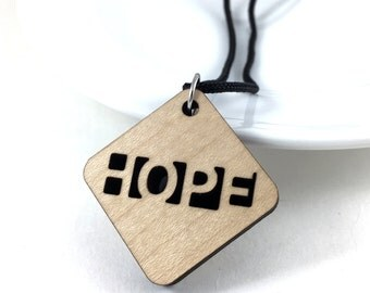 Hope Necklace, Inspirational Jewelry, Hope Jewelry, Devotional Jewelry, Hope Pendant, Statement Necklace, Wood Necklace, Survivor Jewelry