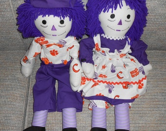 25 inch Clemson Tigers Raggedy Ann and Andy Doll Sets