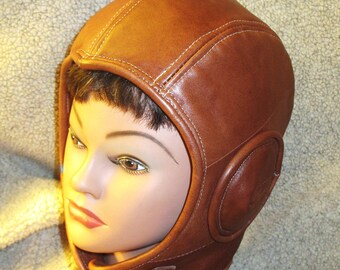 Retro Aviator Hat in Distressed Rust Brown Leather/  Suede Lined