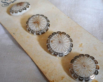 Set of 4 VINTAGE White Glass Silver Trim BUTTONS
