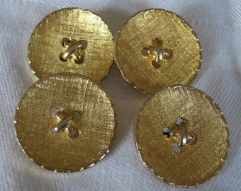 Set of 4 VINTAGE Gold Metal Imitation Sew Thru BUTTONS