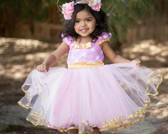 Pink and Gold dress birthday dress MINNIE MOUSE dress Minnie  TUTU  Party Dress for pink and gold first birthday