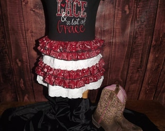 Ruffles, Lace, Lots of Grace, Ruffled T-Shirt Dress, Bandana Print, Country, Frilly, Western Wear, Rodeo