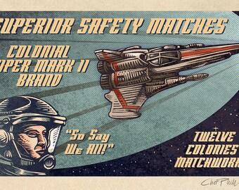 "Viper Mark II Brand Matchbox Art- 5"" x 7"" Matted Signed Print"
