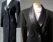"""RESERVED for Dell Vintage Lilli Ann Black Tuxedo Coatdress Dress - Office to Evening Cocktail Party - Size Medium  Bust 44"""""""