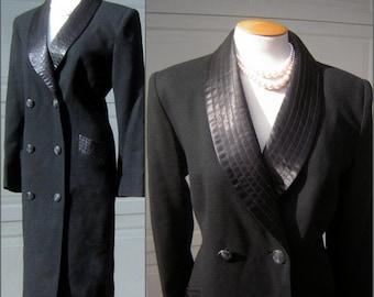 "Vintage Lilli Ann Black Tuxedo Coatdress Dress - Office to Evening Cocktail Party - Size Medium  Bust 44"""