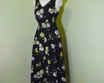 Vintage 50s Style Daisy Novelty Print 90s Rockabilly Maxi Dress S 34